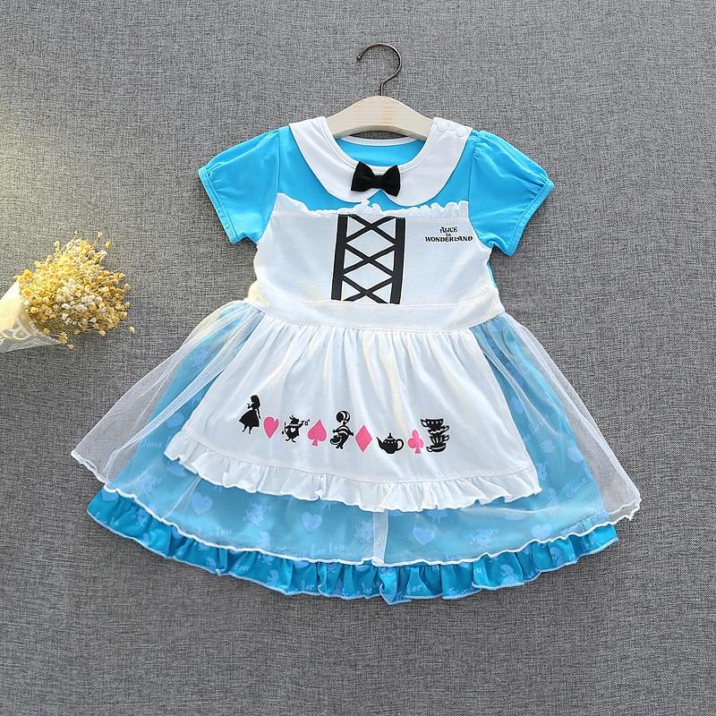 Ansissiy Cloth Store Casual Snow White Princess Pattern Summer Dress Fairy Tutu Mini Dress Kids Fancy Party Dress Girls Cosplay Costume Vestido Cloth
