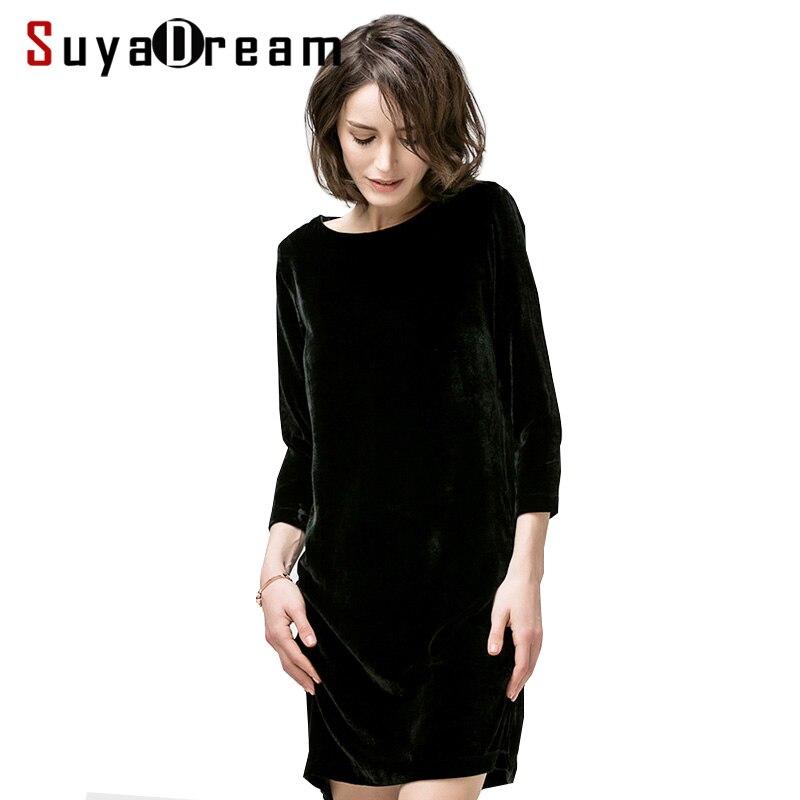 Women Winter dress Black Luxury 100 Silk Velvet dresses Slash neck 3 4 sleeve 2017 new