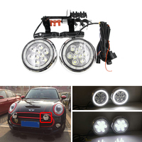 Fits For Mini Cooper F55 F56 F57 14 16 Front Bumper Led Driving Fog Lights W/ DRL Halo Rings Mini Rally Light Car Styling