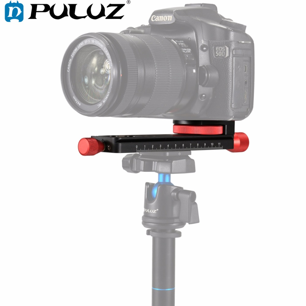 PULUZ Macro Focusing Rail Slider Close up Shooting Tripod Head Quick Release Plate Holder with 1