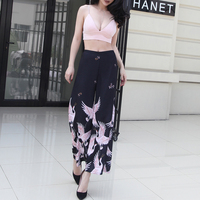 2017 Summer Cranes Printed Wide Leg Pants Women Slim Waist High Street Elegant Pants Ankle Length Thin Section Cool Fabric