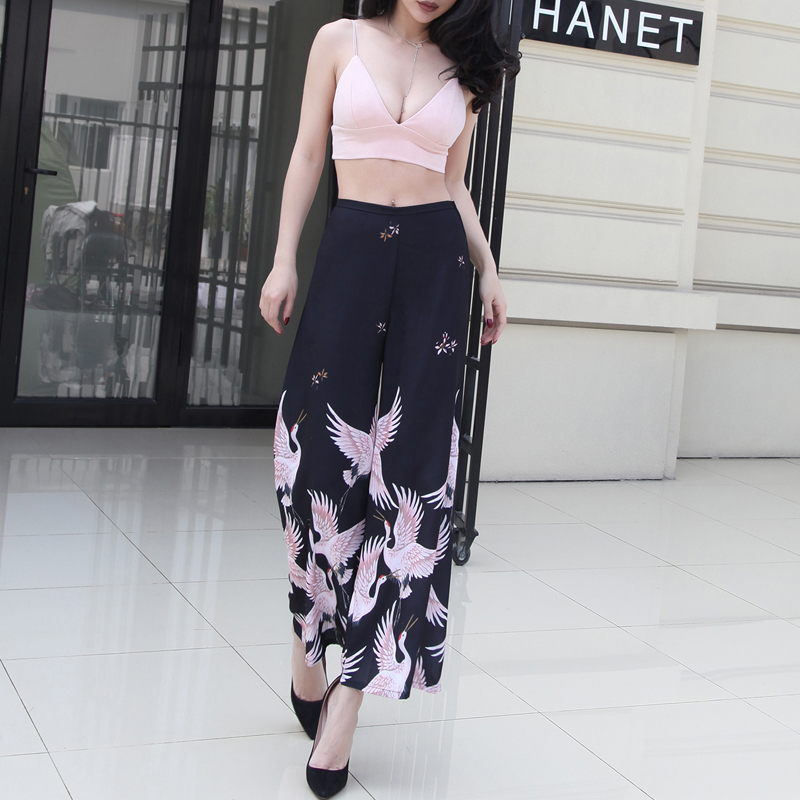 2017 Summer Cranes Printed   Wide     Leg     Pants   Women Slim Waist High Street Elegant   Pants   Ankle-Length Thin Section Cool Fabric