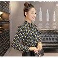Hot Sale 2016 Printed Chiffon Shirt The New Arrival Spring  Korean Bow Bottoming long Sleeved Chiffon Shirt Slim tops  58E 25