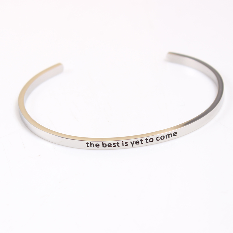 The best is yet to come 316L Stainless Steel Bangle Engraved Inspirational Quote Cuff Bangle Mantra Bracelet for Women image