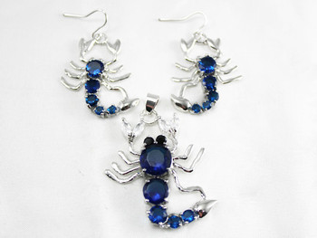 Joyería cristalina de la manera azul Cristalino de la Joyería Escorpión pendientes y colgante