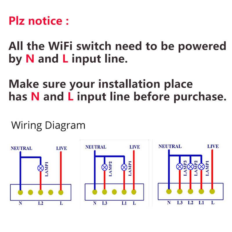 Ewelink APP Control Wifi interruptor estándar de EE. UU. 1 2 3 4 interruptor de luz de la pared interruptor inteligente táctil a través de Android /IOS de Control IFTTT