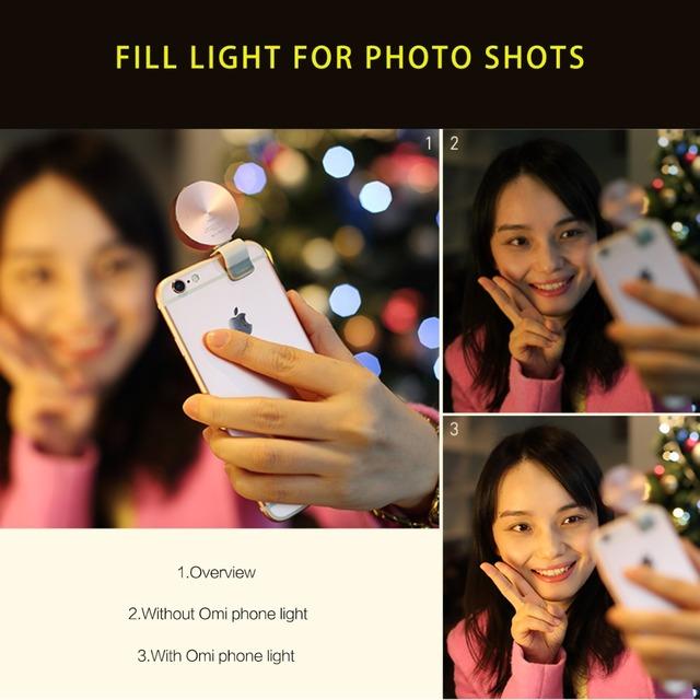 Rock omi bolso noite câmera do telefone selfie luz 10 led mini clip-on para o iphone 6 s terno para ios smartphone android comprimidos