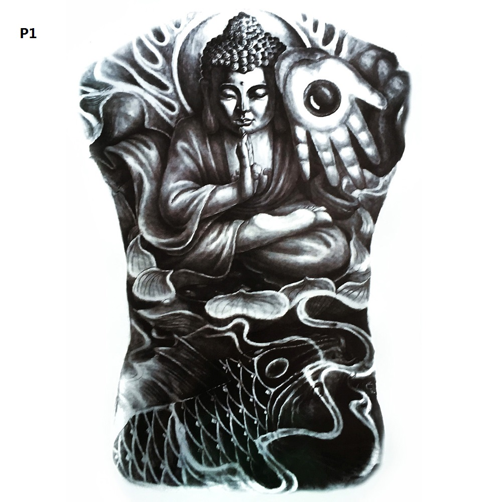 4834cm body art beauty makeup budda custom design waterproof temporary large tattoo stickers man fake full back tattoo sticker