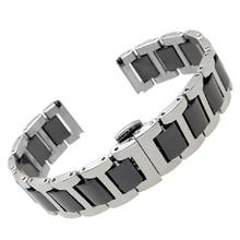 Новый Arrive16mm 18 мм 20 мм нержавеющей стали обертывание керамический ремешок для часов белый или черный часы полоса ремешок бабочка пряжка браслет