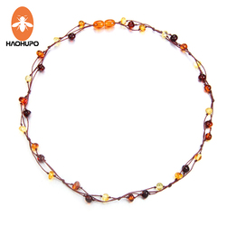 HAOHUPO Natural Amber Jewelry Flower Multicolor Baltic Amber Bead Necklace for Women Unique Gift Adult Necklace
