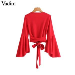 Image 4 - Vadim phụ nữ bow tie chữ thập V neck crop tops sash flare tay áo ngắn bọc áo sơ mi giản dị đỏ trắng tops blusas LA967