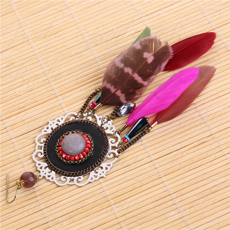 HTB1sXHha1sAV1JjSZFsq6ydZXXao - [Clearance] Women Vintage Bohemian Feather Earrings Filigree Colorful Feathers