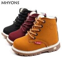 MHYONS/Детские зимние сапоги обувь для мальчиков и девочек; модная мягкая подошва, детские ботинки для девочек, хит продаж, 21-30 на осень-зиму дет...