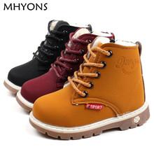 MHYONS dziecko Snow buty buty dla dziewcząt chłopców buty moda miękkie dno Baby Girls Boot 21-30 jesień zima buty dziecko butów tanie tanio Dzieci 7-9Y 13-18M 2-3Y 19-24M 10-12M 4-6Y 10-12Y Gumowe Modne buty Pasek na kostkę Płaskie z Okrągły palec Masz Pasuje do rozmiaru Weź swój normalny rozmiar