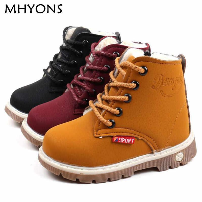 a813f9a5bc5d MHYONS Детские зимние сапоги обувь для мальчиков и девочек модные ботинки с  мягкой подошвой для