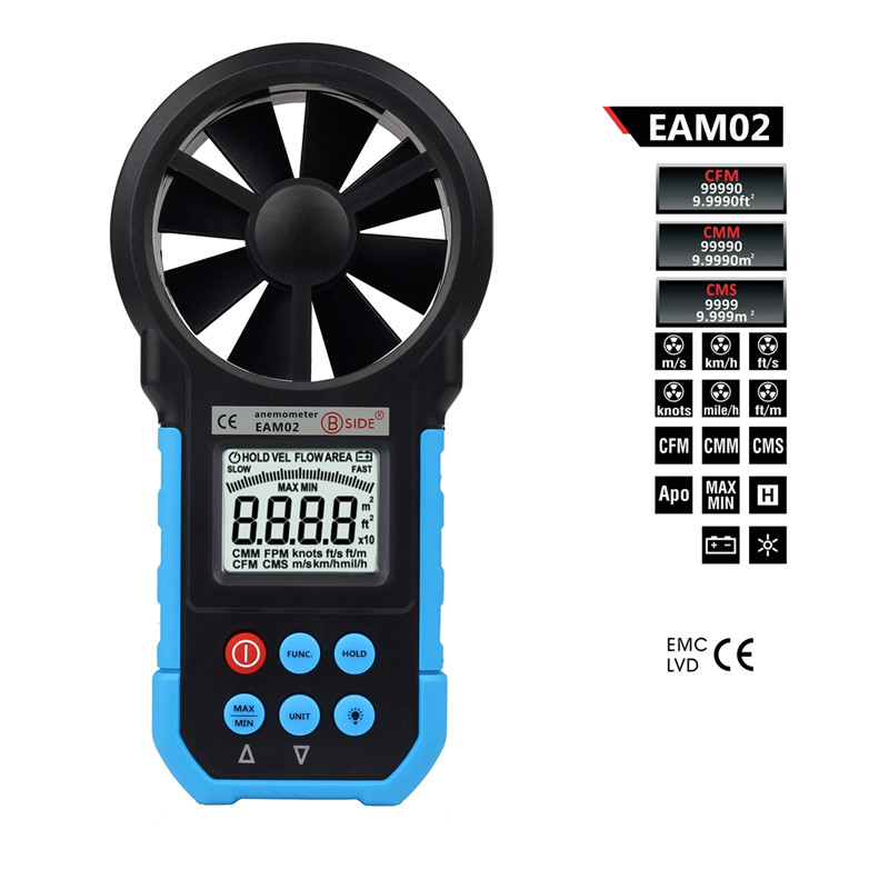Handheld Digital Anemometer Wind Speed Meter Air Flow Air Velocity Tester with Bar Graph BSIDE EAM02 az8904 handheld digital anemometer wind speed meter wind speed tester electronic measuring instruments air volume meter