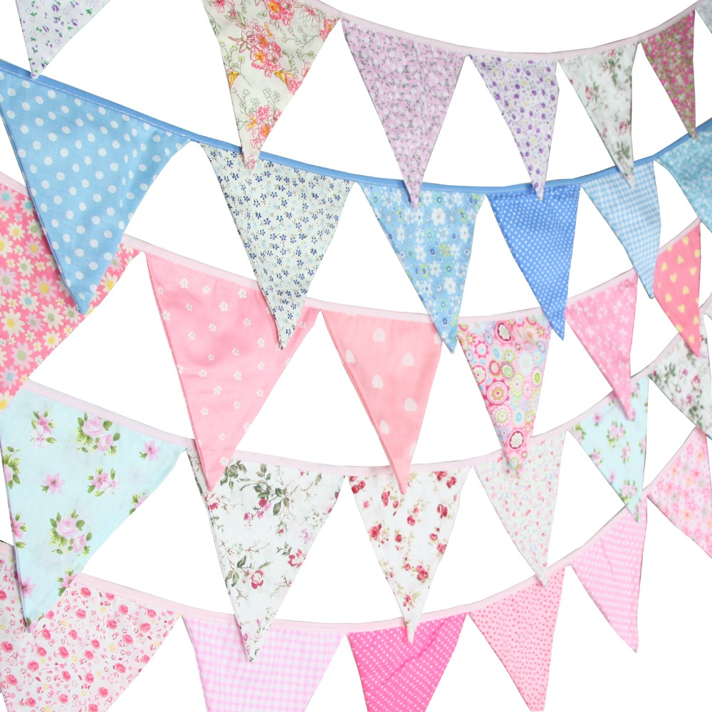 New 12 Flags - 3.2M Cotton Fabric Banners Pink Bunting Decor  Baby Shower Garland Birthday Party Decoration Blue Bunting