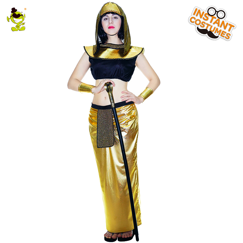 Adult Sexy Egyptian Queen Costumes Women Pretty Gloden Egypt Girl Cosplay Fancy Dress Carnival Cleopatra Role Play Costumes