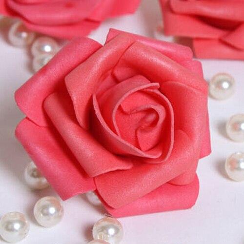 100 PCS Mousse Rose Fleur Bourgeon De Mariage Parti Décorations Fleur Artificielle Bricolage Artisanat Pastèque Rouge Meilleure Vente
