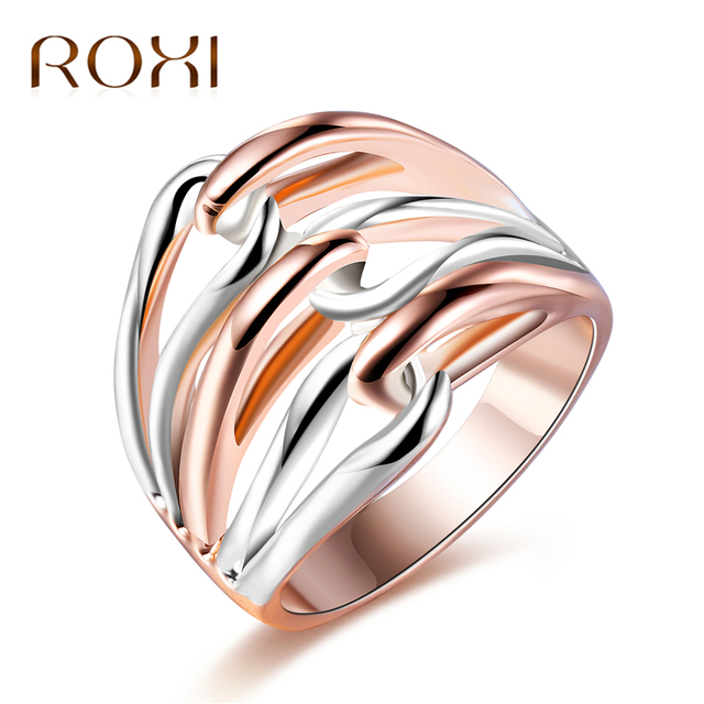 ROXI Classic Rose Gold & Silver Color Knot Design Rings for Women Wedding Party Brand Female Rings Fashion Jewelry Bagues Femme