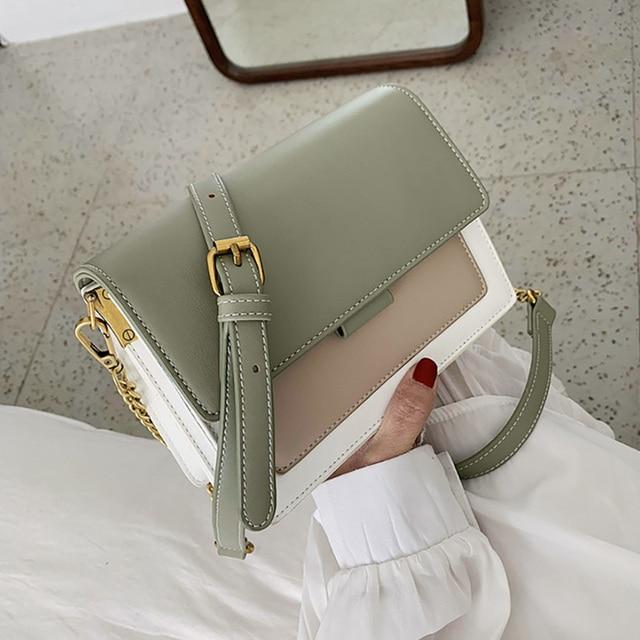 ETAILL 2019 Summer Green Color Patchwork Bags for Women Golden Chain Wide Strap Shoulder Messenger Bag Panelled Messenger Bags