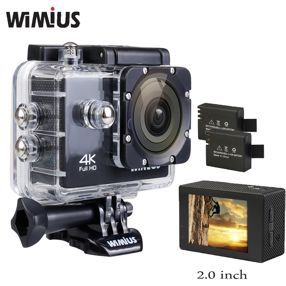 Wimius Action Camera 4K Full HD 1080P Wifi 2.0 inch CMOS Video Sports Mini Helmet Cam Go 40M Waterproof Pro Car DVR + Accesories f10 gopro mini sports camera video recorder full hd 1920 1080p 30fps waterproof 30m camera with1 5 inch high definition screen