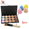 New 15 Colors Cream Makeup Set for pincel maquiagem Concealer Palette Water Sponge Puff Powder Brush pinceis QSTexpress