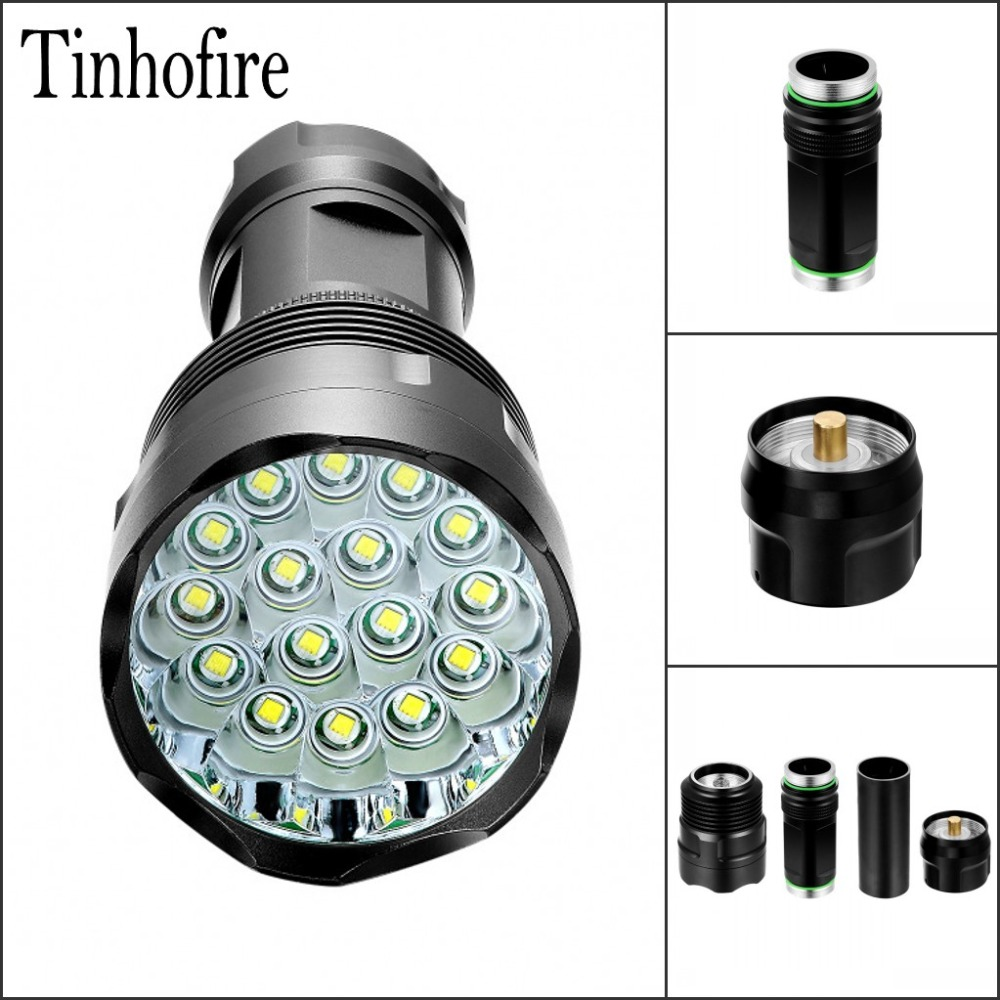 Tinhofire T13-16 13/14/15/16 T6 CREE XM-L T6 20000 Lumens 5-Mode LED Flashlight Torch Lamp Light Black 18650/26650 Battery trustfire tr j18 flashlight 5 mode 8000 lumens 7 x cree xm l t6 led by 18650 or 26650 battery waterproof high power torch