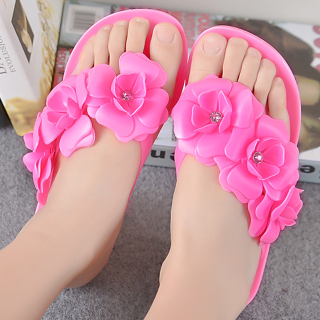 Flip flops flower solid beach shoes crystal flat with summer shoes
