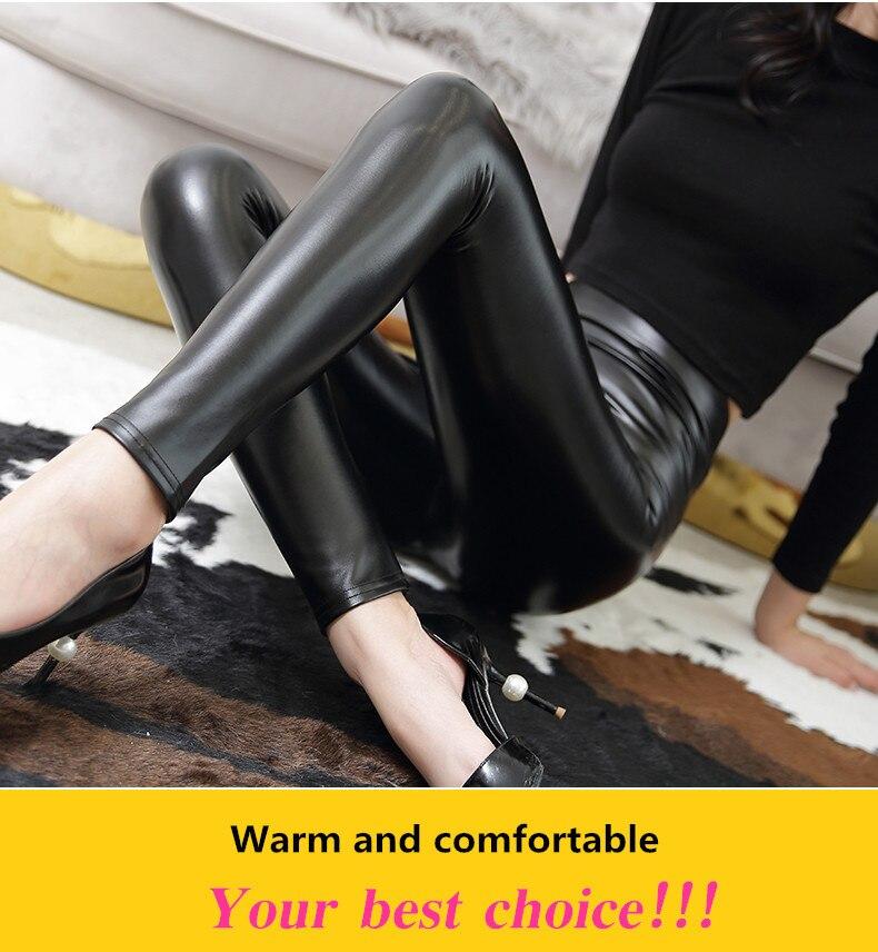 Everbellus High Waist Leather Leggings for Women Black Light&Matt Thin&Thick Femme Fitness PU Leggings Sexy Push Up Slim Pants 4