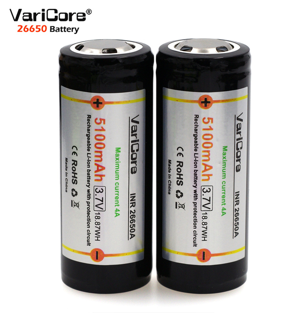 Varicore 3 ピース。 26650 3.7 ボルトリチウム電池 26650 4A 高放電電流保護ボードを強調するためのバッテリー懐中電灯