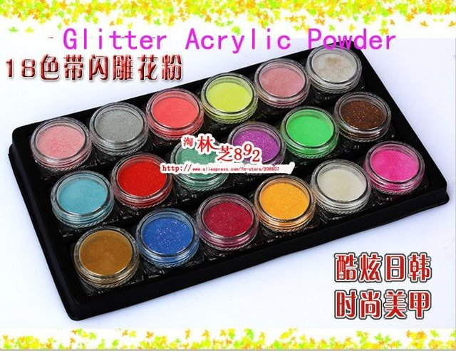 Nail Glitter Acrylic Powder Freeshipping DIY Design Manicure Art Carved Flower Supplies 18Colors/set Special 3D Carved Powder