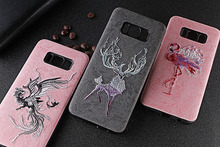 For Samsung Galaxy S8 Plus Case Handmade Embroidery 3D Flower Animal totem Phone for
