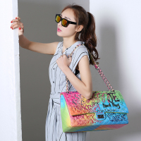 Amberler Luxus Designer PU Leder Frauen Schulter Tasche Große Kapazität Damen Kette Gedruckt Umhängetaschen Mode Weibliche Handtasche
