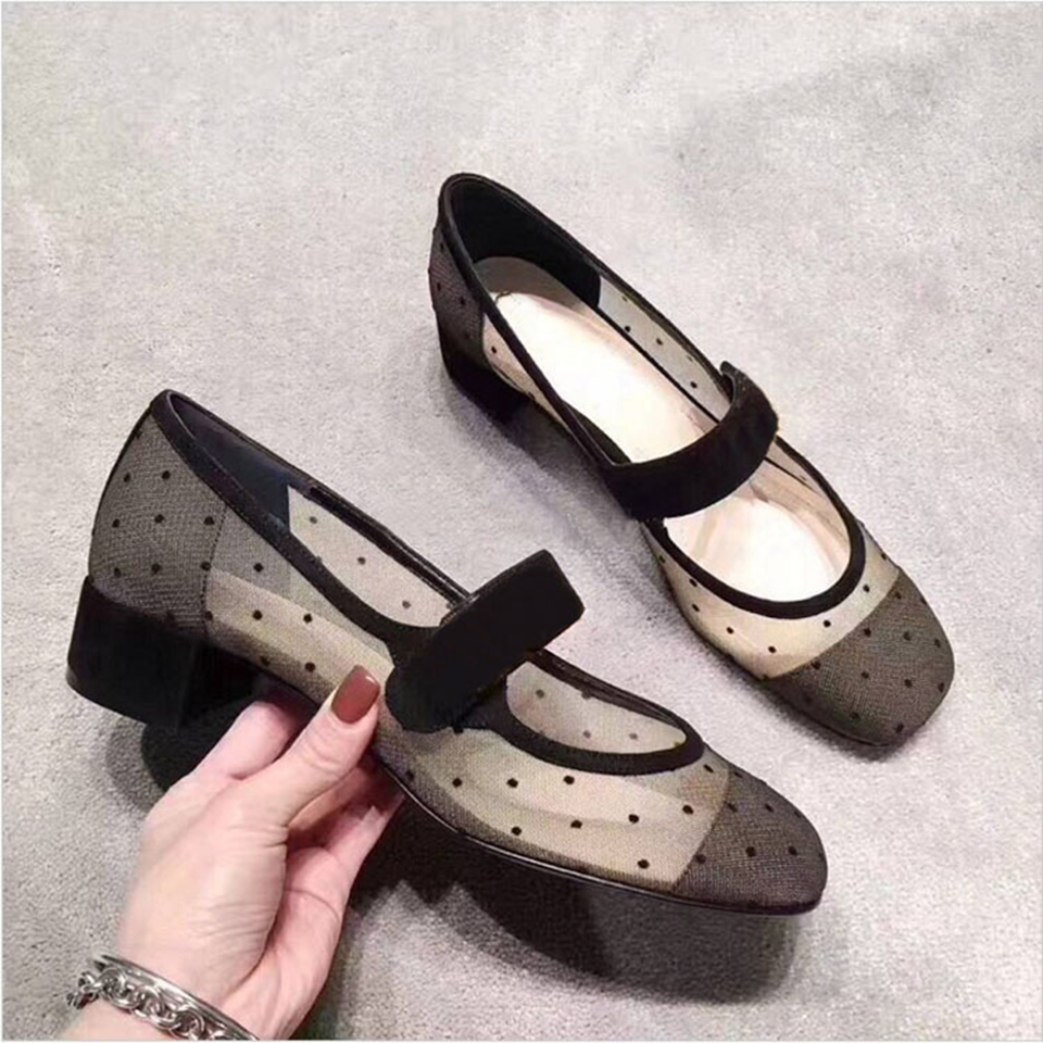 Kmeioo Air Mesh Mary Janes Fashion Spring Autumn Shoes Woman Round Toe High Heels Square Heel Pumps Prom Shoes