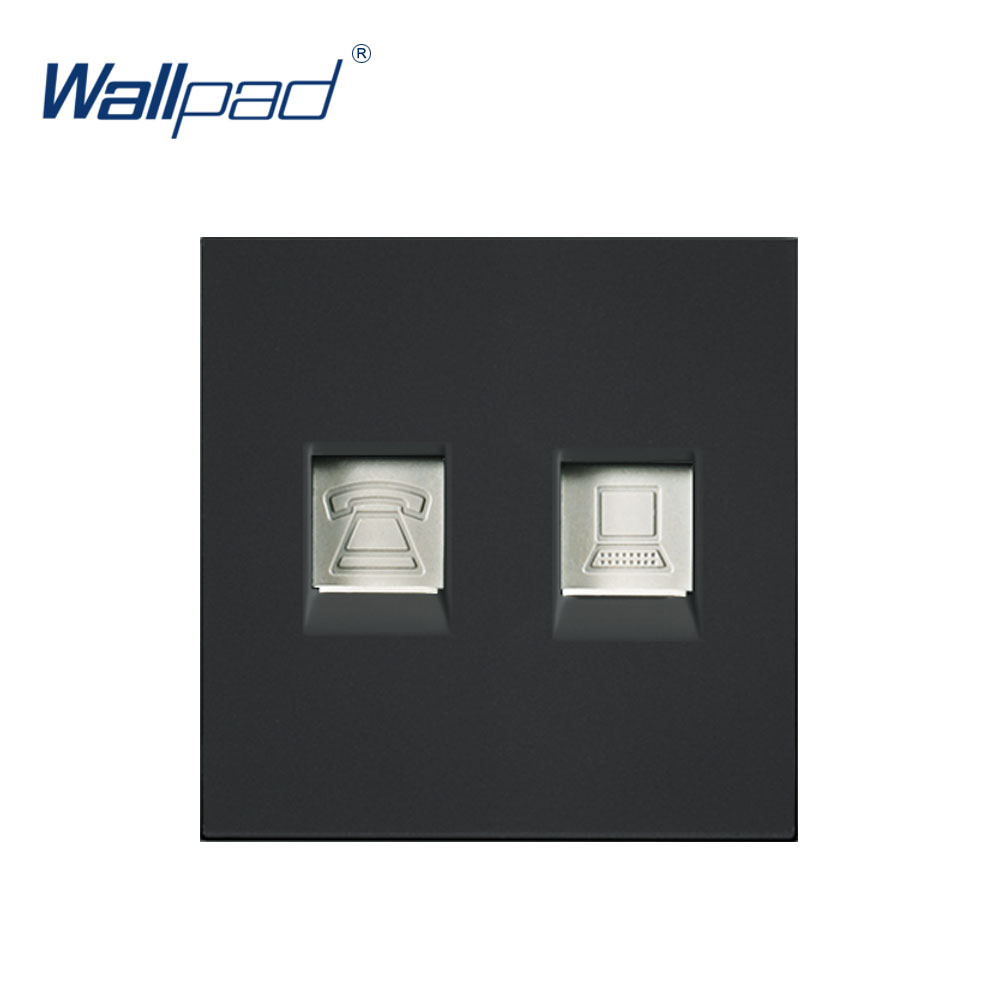 Wallpad Luxury Telephone And Computer Socket DATA Outlet Function Key For Wall White And Black Plastic Module Only-in Switch Accessories from Home Improvement