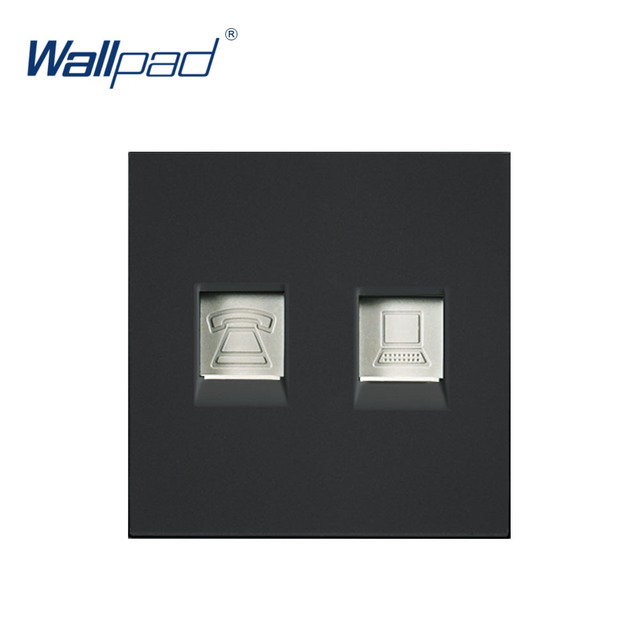 Wallpad Luxury Telephone And Computer Socket DATA Outlet Function Key For Wall White And Black Plastic Module Only