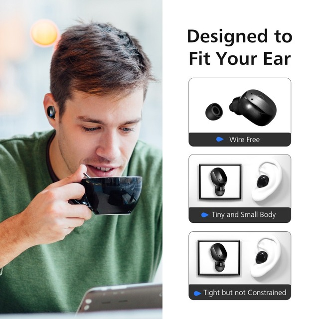 VTIN Portable Wireless Earphone Hands Free Calling Bluetooth Earbud Ergonomic Touch Control Earphone With EVA Case For iPhone 3
