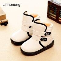 Winter Kids Plush Snow Boots Children Boys Girls Fashion Boots Antislip High Thick Waterproof Shoes White
