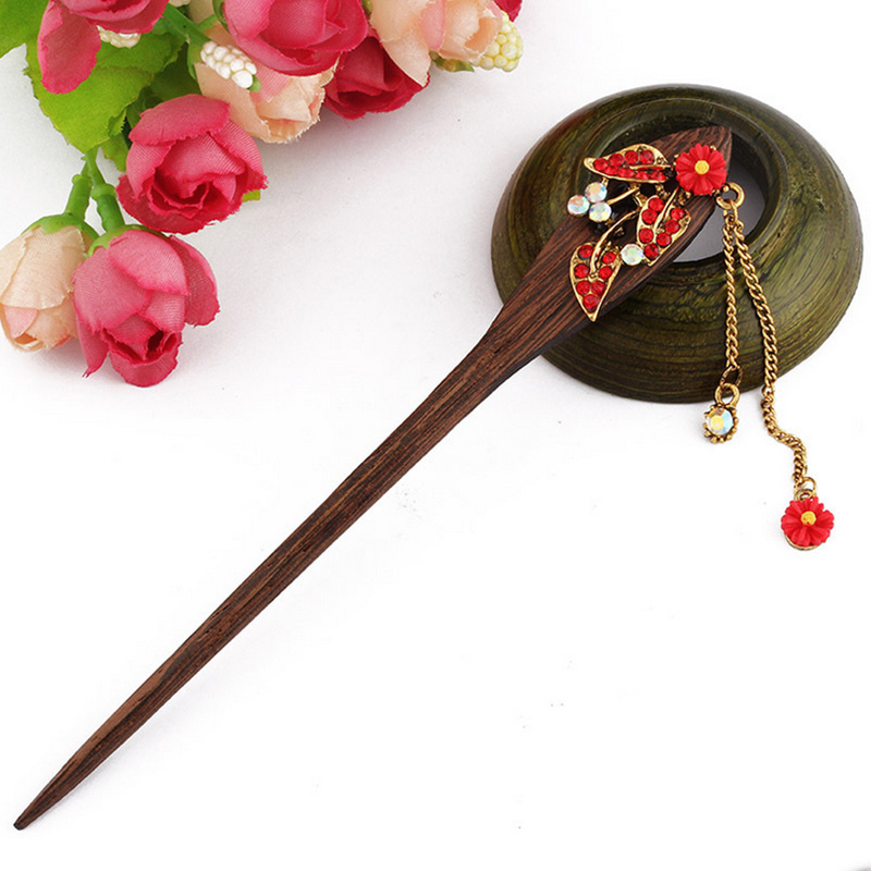 2017 Retro national winds Leaf shape natural Phoebe zhennan Zircon Hair sticks Chinese s ...