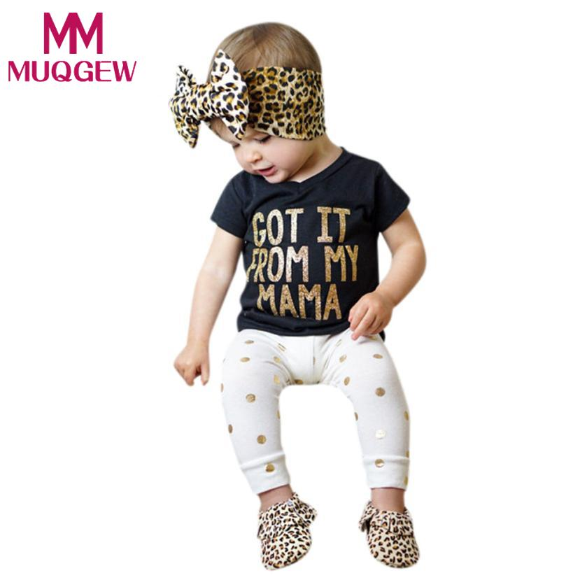 MUQGEW Boutique Kids Clothing Set of Children Baby Girls Outfits Clothes Bronzing T-shirt Tops +Pants Handband 3PCS Sets terno baby kids baseball season clothes baby girls love baseball clothing girls summer boutique baseball outfits with accessories