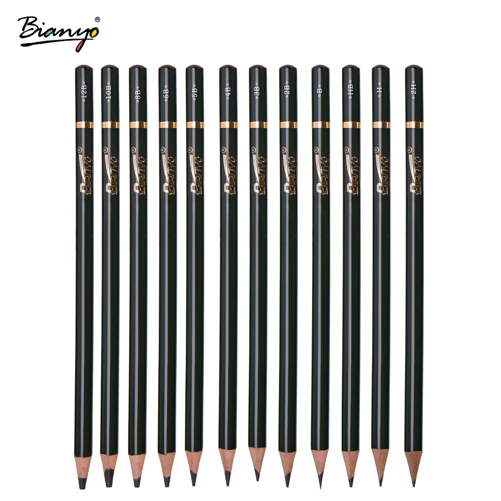 Bianyo12 Pieces/Box 2H-12B Sketch Drawing Pencil Set Best Quality Non-toxic Standard Pencils for Office School Pencil 12 pieces box marco s sketch drawing pencil set non toxic pencils for school student top quality standard pencils lapiz 3001