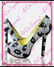 Aidocrystal handmade stiletto shoes classic white black crystal high heels women pumps 12cm high heel shoes woman