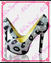 Aidocrystal handmade stilett-schuhe klassische weiß schwarz kristall high heels frauen pumpt 12 cm high heel schuhe frau