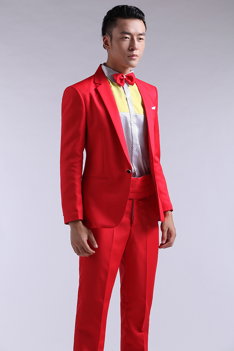 Red And Gold Prom Suits Dress Yy