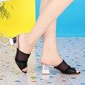 ZIMNAFR MARCA 2017 verano nueva mujer zapatillas de tacón alto de cuero genuino ocasional de gran tamaño hueco sandalias femeninas de la boca de pescado fresco