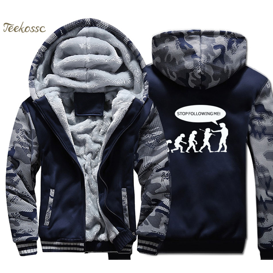 Stop Following Me Caveman Hoodies Men Funny Evolution Sweatshirts Coats Winter Thick Fleece Warm Zipper Camouflage Jackets Men's