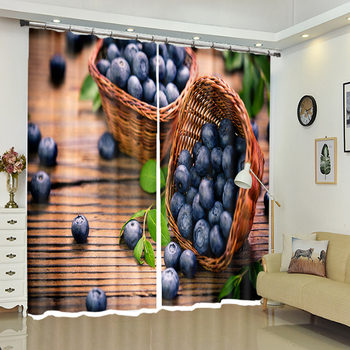 2020 New Office 3D Blackout Window Curtains Modern Style Purple Grape Fruits Pattern Polyester Bedroom Curtains for Living Room