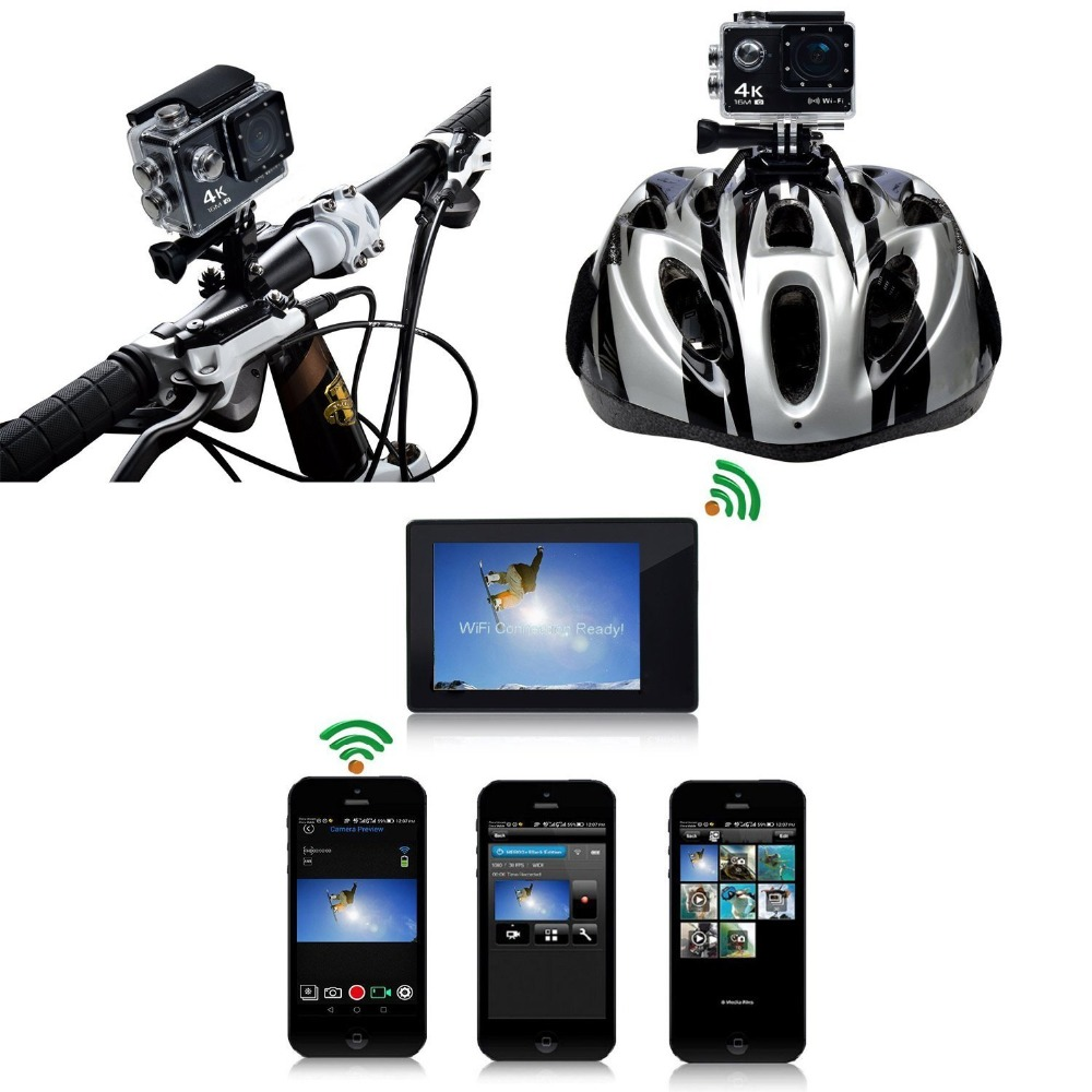 Trainshow Motorcycle DVR 4K 16M Camara Deportiva,Car Dash Cam Full HD 30m Waterproof Diving WiFi Remote Control Helmet