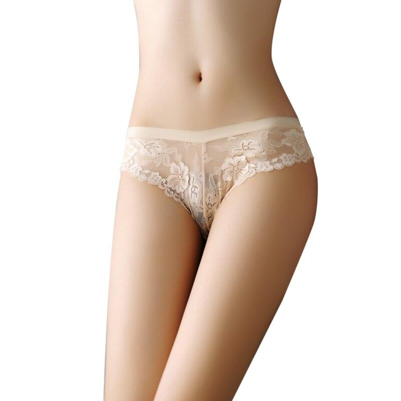 Women Sexy Panties Bow Lace Slim High Waist Perspective Flexibility Transparent Girls Briefs Women's Panties